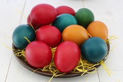 Red, Orange, and Green Printed Eggs Screenshot Royalty Free Stock Photo