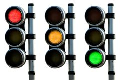 Red, orange and green traffic lights royalty free stock photo