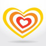 Red, orange heart on white background  Valentines day, wedding card. vector Royalty Free Stock Image