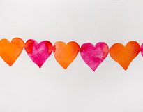Red and orange hearts watercolor Royalty Free Stock Photo