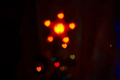 Red Orange Heartshaped Bokeh Stock Photography