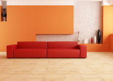 Red and orange living room Royalty Free Stock Images