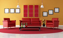 Red and orange living room Royalty Free Stock Photo