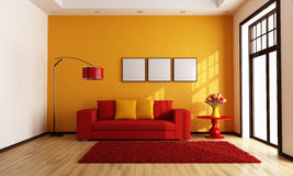 Red and orange living room Stock Images