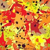 Red orange maroon ink paint splashes seamless pattern Stock Photo
