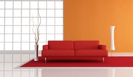 Red and orange minimalist lounge Stock Photo