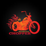 Red orange motorcycle chopper logo is line blend art style Stock Photos