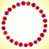 Red, orange and pink flowers forming a circle or a frame on a gradient yellow and white background vector illustration