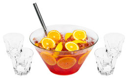 Red Orange Punch. Alcoholic drink isolated on white background Royalty Free Stock Photography