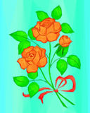 Red and Orange Rose Flowers, Low Poly Royalty Free Stock Photos