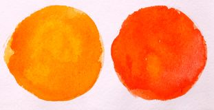 Red and orange round circle abstract watercolor on white background stock images