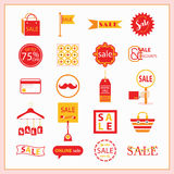 Red and orange SALE and shopping icons set Stock Images