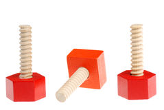 Red and orange screws toys Royalty Free Stock Image