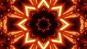 Red orange star kalaidoscope with glowing pattern background wallpaper. Multi color scifi kalaidoscope with glowing pattern and futuristic look background royalty free illustration