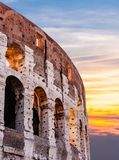 Sunrise at Colloseum. A red and orange Sunrise at the Roman  Colloseum Royalty Free Stock Photos