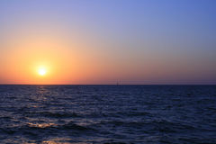 Red and orange sunset over the Sea. Royalty Free Stock Photos