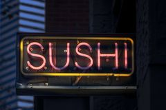 Neon Sushi Sign Royalty Free Stock Photography