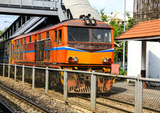 Red orange train, Diesel locomotive Stock Images