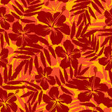 Red and orange tropical flowers silhouettes. Vector seamless pattern Royalty Free Stock Photography