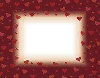 Red and orange valentines day card background illustration design with hearts Stock Images