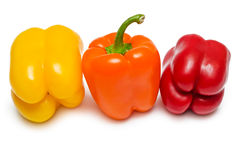 Red orange and yellow Bell peppers Stock Photo