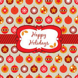 Red orange and yellow christmas wrapping. Wrapping paper with red, orange and yellow christmas baubles and banner Stock Photography