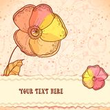 Red, orange and yellow flowers greeting card Royalty Free Stock Image