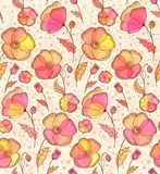 Red, orange and yellow flowers  pattern Royalty Free Stock Images