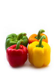 Red, orange, yellow and green Paprikas Royalty Free Stock Images