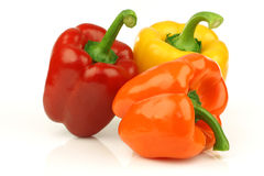 Red, orange and yellow paprika(capsicum). On a white background Royalty Free Stock Photos