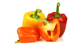 Red, orange and yellow paprika(capsicum) Stock Image