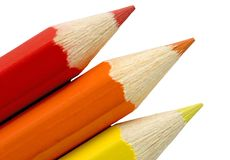 Red, Orange and Yellow Pencils Stock Image