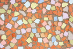 Red orange and yellow rustic mosaic. Tile pattern Royalty Free Stock Photos