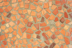 Red orange and yellow rustic mosaic. Tile pattern Royalty Free Stock Photo