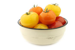Red, orange and yellow tomatoes in an enamel bowl Royalty Free Stock Images