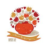 Red orange yellow tulip mothers day card Stock Photography