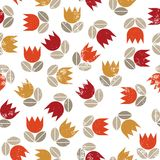 Red orange yellow tulips messy seamless pattern Stock Photos