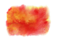 Red, orange and yellow watercolor stain white background. Stock Photo