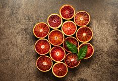 Citrus fruit pattern on stone background. Flat lay concept. Royalty Free Stock Photo