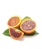 Red oranges  and fresh leaves Royalty Free Stock Photo