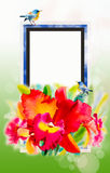 Red orchid flower beauty and couple bird, in spring Royalty Free Stock Photos