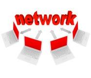 Red - ordenadores portátiles conectados en conexiones Fotos de archivo libres de regalías