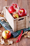 Red organic apples in a wooden crate. On wooden background stock photos