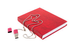Red organizer and USB flash drive on a long chain. On a white background Royalty Free Stock Photos