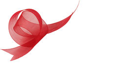 Red Organza Ribbon. Closeup or a piece of red Organza ribbon royalty free stock photo