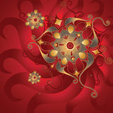 Red oriental background with gold ornament Stock Images