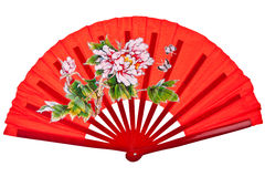 Red oriental chinese fan. Isolated on white background Stock Photos