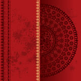 Red oriental grunge henna mandala background Stock Photos