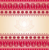 Red oriental henna and lotus banner Royalty Free Stock Images