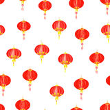 Red oriental lantern watercolor seamless vector pattern Stock Photography